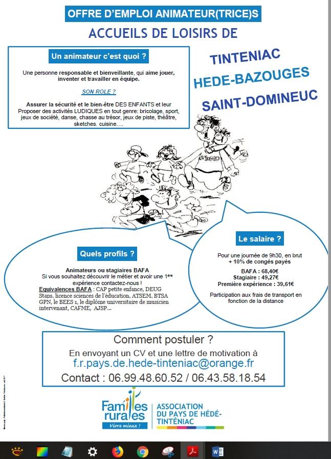 Offres D Emplois Animateur Trice S Ville De Tinténiac